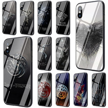The game of the thrones Tempered Glass TPU Black Cover Case for iPhone 5 5S 6 6s 7 8 plus X XR XS 11 pro Max(China)