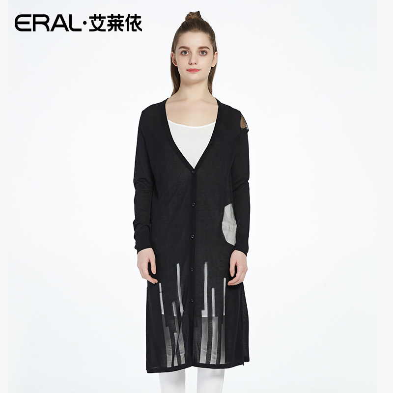ERAL Spring New V-neck Long-sleeved Sweater Women Long Paragraph Wide Open Cardigan Light And Thin Wild Sweater ERAL33639-FQAA