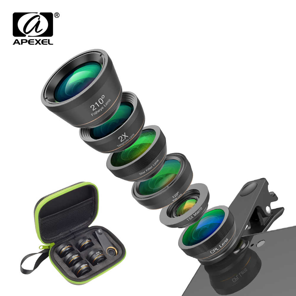 APEXEL Phone Camera Lens Kit 6 in 1 Fish Eye Lens 210 Degree Wide Angle  Macro Lens CPL/Star Filter 2X tele for Smartphones