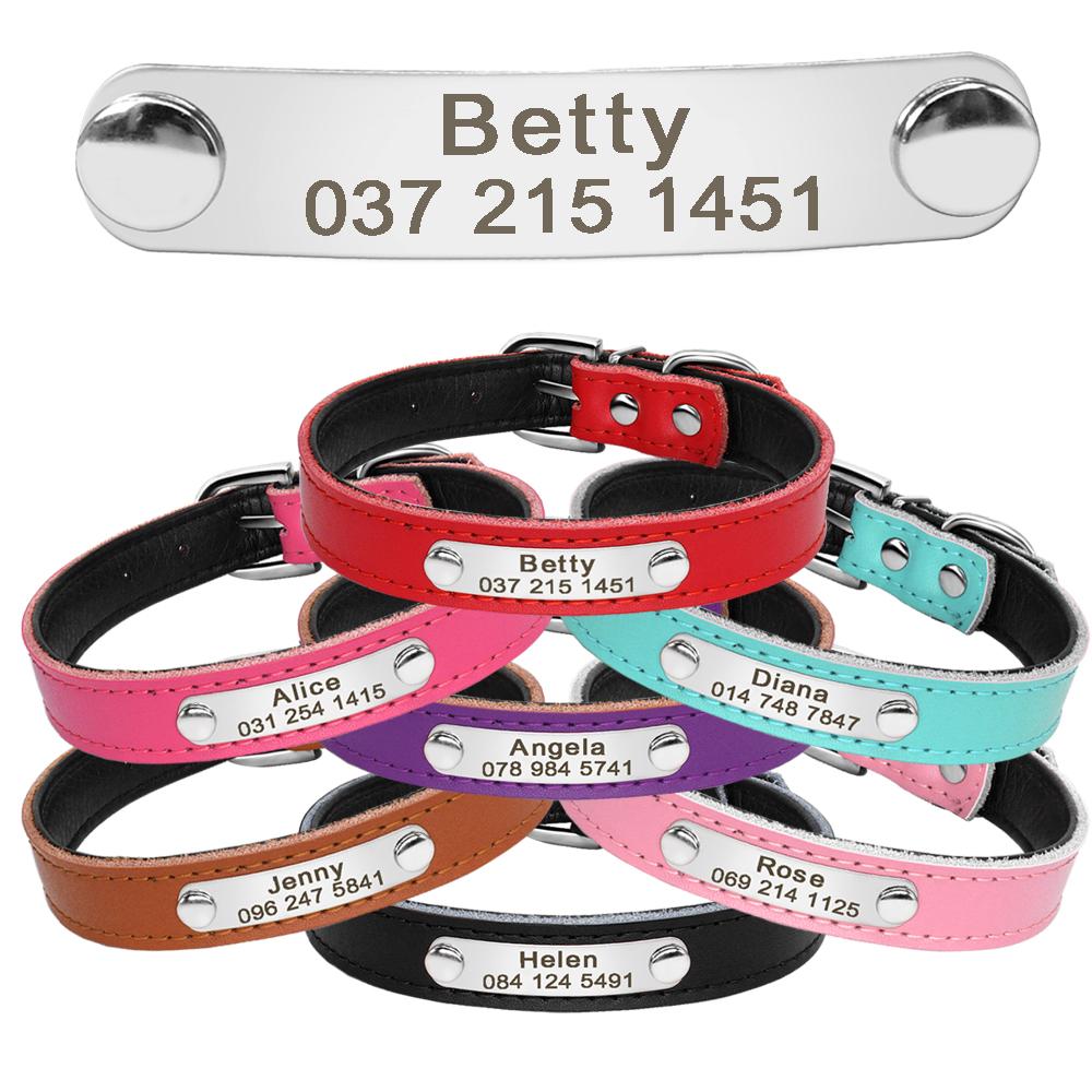 Collar de perro de cuero con relleno interior personalizado con placa de identificación grabada 6