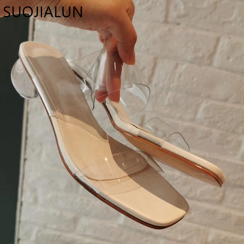 SUOJIALUN Summer Women Slipper Crystal Geometric Ball Heel Women Slippers Shoes Transparent PVC Sandals Beach Slide Flip FlopSUOJIALUN Summer Women Slipper Crystal Geometric Ball Heel Women Slippers Shoes Transparent PVC Sandals Beach Slide Flip Flop