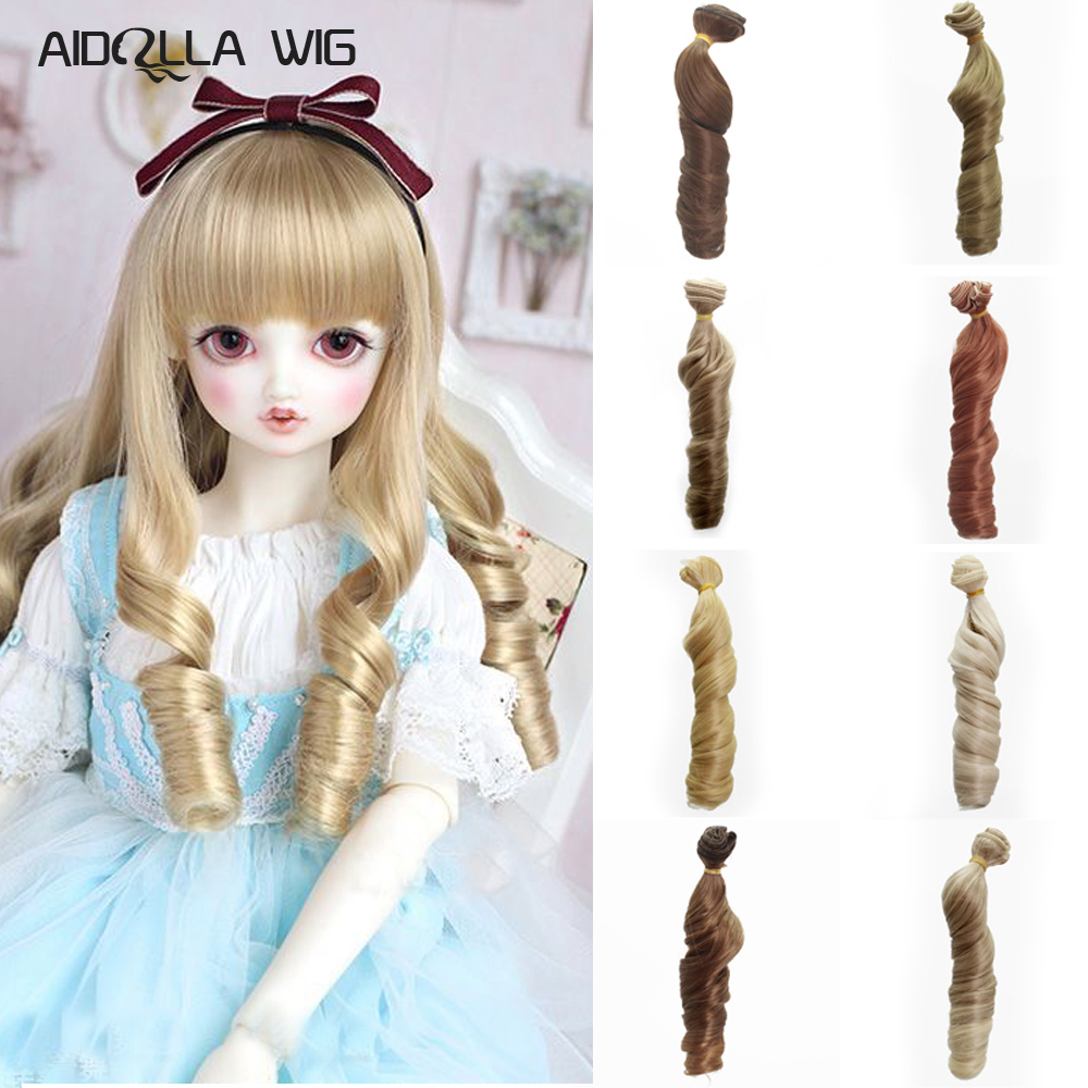 Toys & Hobbies Dolls Accessories 15cm Synthetic Fiber Big Wavy Khaki Yellow Blue Red Hair Refires Extensions For All Dolls Diy Doll Wigs Keep You Fit All The Time