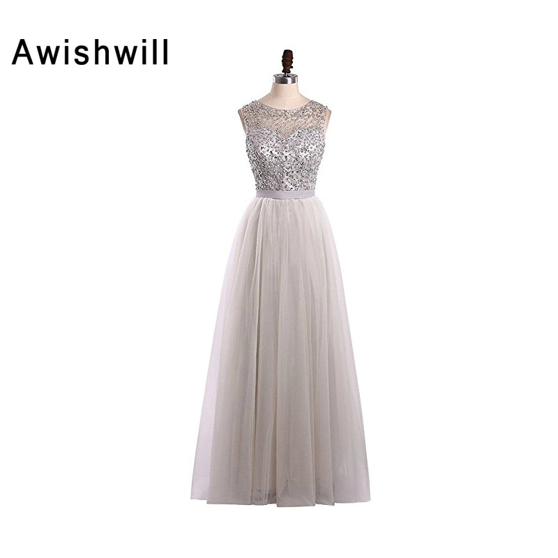 Custom Made Long Evening Dresses Cheap Grey Color Beadings Tulle A ...