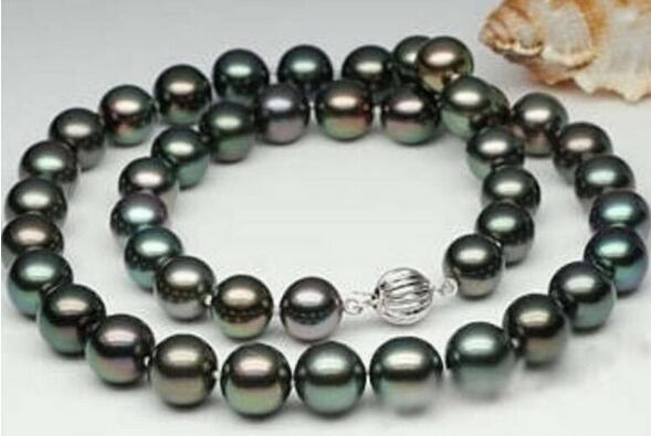 Natural AAA mm Black Tahitian Cultured Pearl Necklace
