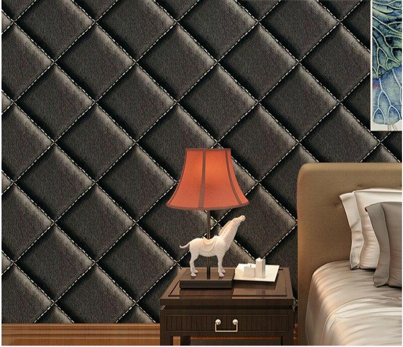 Moderne 3d Imitation Losange En Cuir Doux Pack Papier Peint Pour Mur