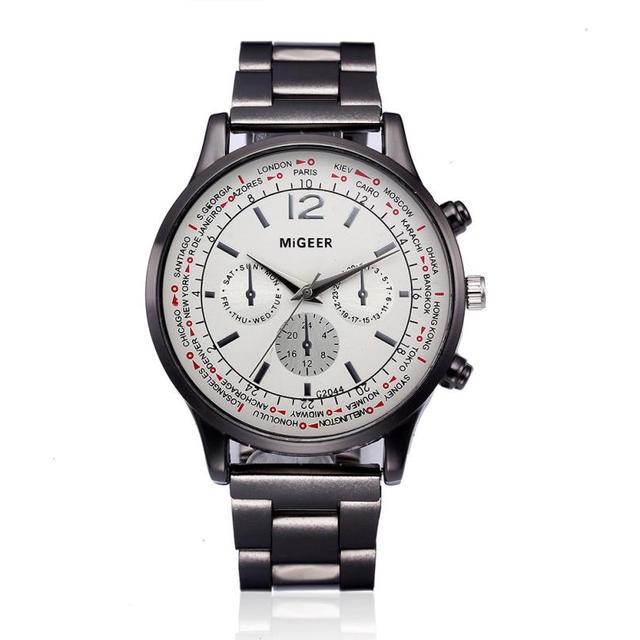 Fashion Men Male Watches Luxury Crystal Stainless Steel Band Analog Quartz Wrist