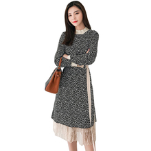 Printed Pleated Chiffon Dress Women Lace Patchwork Sashes S-XXL Red Robe Femme Black Korean All-match Long Sleeve Dress Elegant