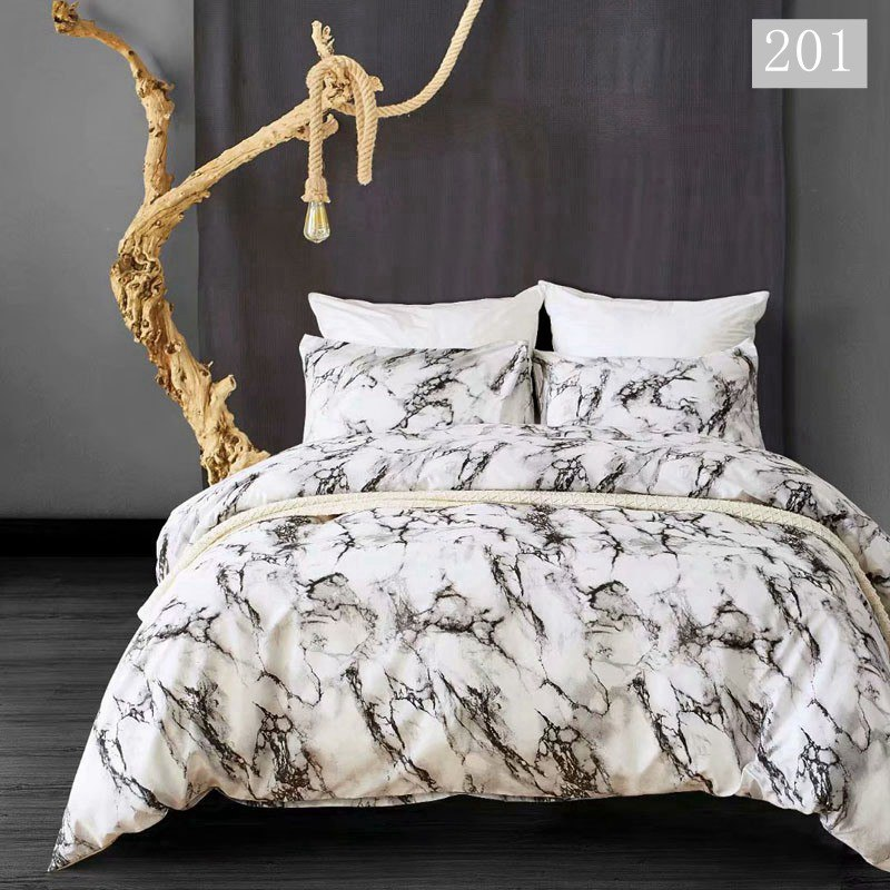 Single Double Bedding Sets Russia Euro14 Size Duvet Cover Set For 90/160/200 Bed Queen Bed Linen Set Bed Clothes White Marble