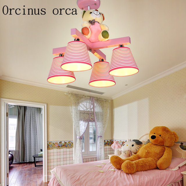 Cartoon teddy bear chandelier boys and girls bedroom pink lamp warm ...