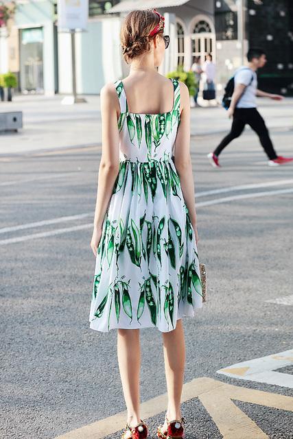 Girls Pea Print Sleeveless Vest Dress