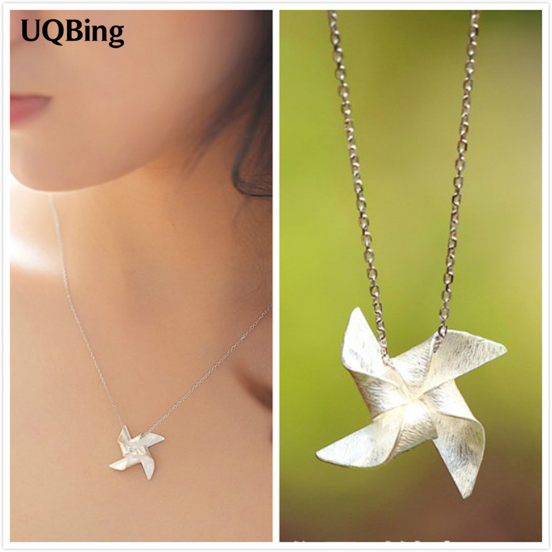 925 Sterling Silver Windmill Necklaces & Pendants Link Chain Choker Necklaces Jewelry Collar Colar