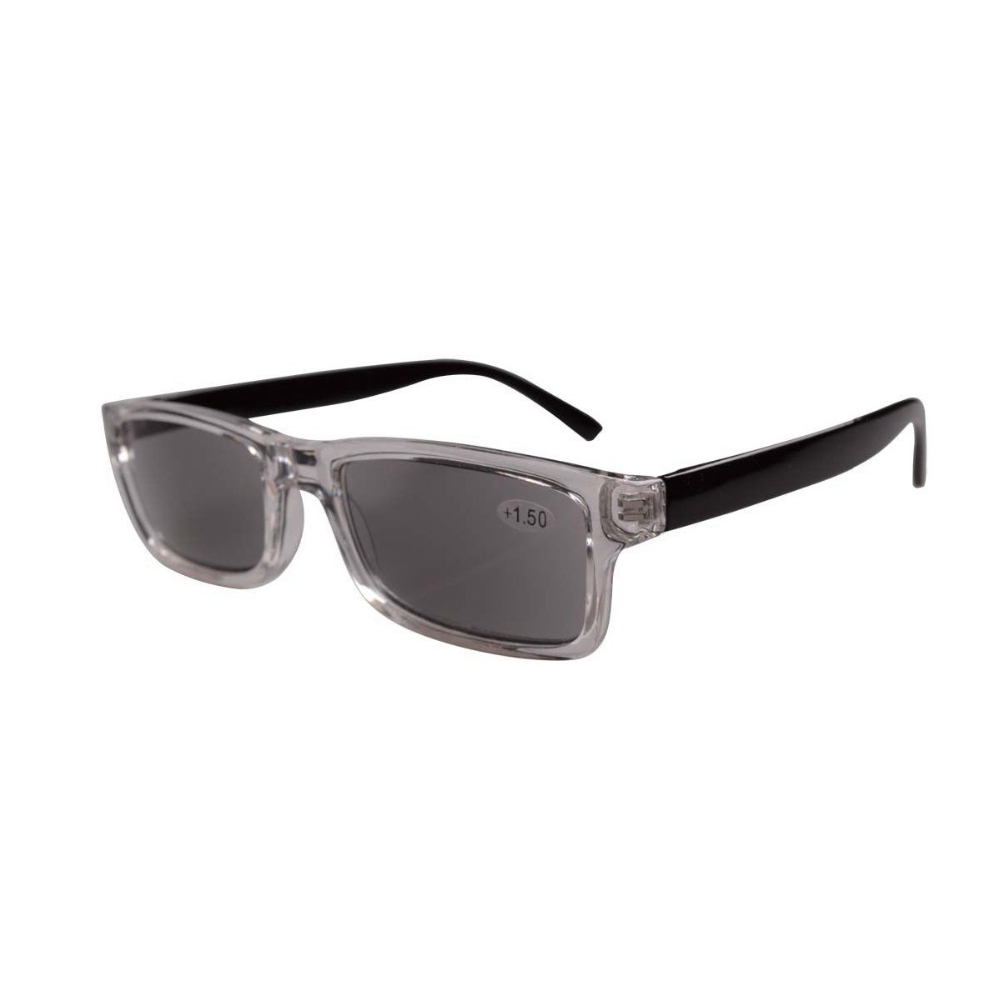 07187f26f579 FR003 Clear Plastic Frame Black Arms Grey Tinted Readers Reading Glasses W  case -in Reading Glasses from Apparel Accessories on Aliexpress.com