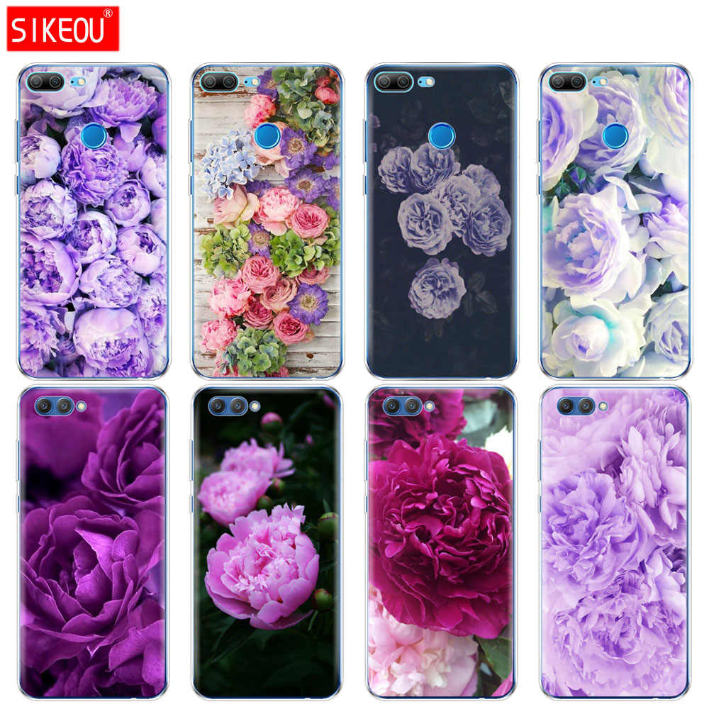 Silicone Cover phone Case for Huawei Honor 10 V10 3c 4C 5c 5x 4A 6A 6C pro 6X 7X 6 7 8 9 LITE purple Summer peonies flower peony