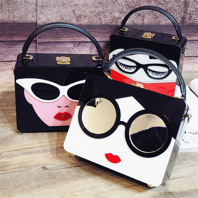2018 Rushed Patchwork Open Women Polyester Hard New Dinner Pack Small Square Bag Glasses Woman Box Diagonal Personality Package2018 Rushed Patchwork Open Women Polyester Hard New Dinner Pack Small Square Bag Glasses Woman Box Diagonal Personality Package