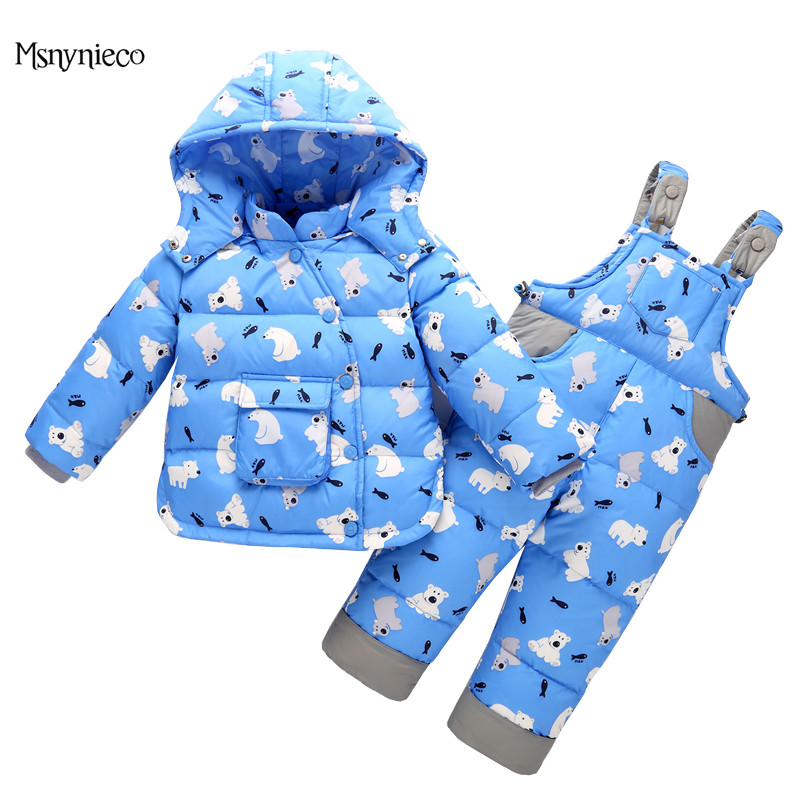 Kids Down Suits 2017 New Winter Baby Boys Down Jacket Toddler Girls Clothing Children Warm Coat+Jumpsuit Snowsuit Outerwear children winter warm jacket baby down coat outerwear boys girls 90