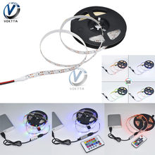 USB LED franja de DC 5 V lámpara de luz Flexible 60 LEDs SMD 2835 5 M RGB escritorio pantalla cinta TV iluminación de fondo SMD2835 Cable USB 5 m(China)