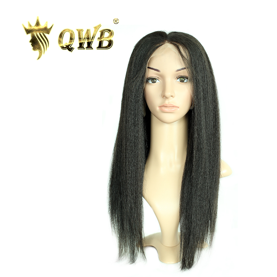 QUEEN WEAVE BEAUTY Free Shipping Kinky Straight Lace Front Human Hair Wigs 12 22 100 Virgin