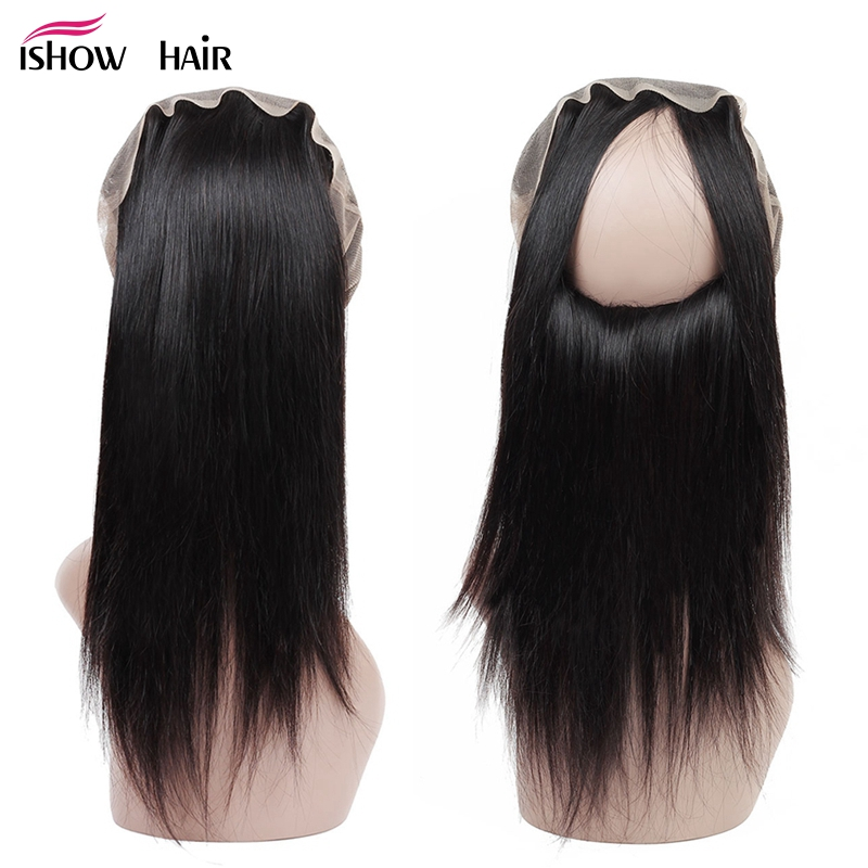 Ishow Hair Indian Straight Pre Plucked 360 Lace Frontal Closure With Baby Hair Human Hair Natural