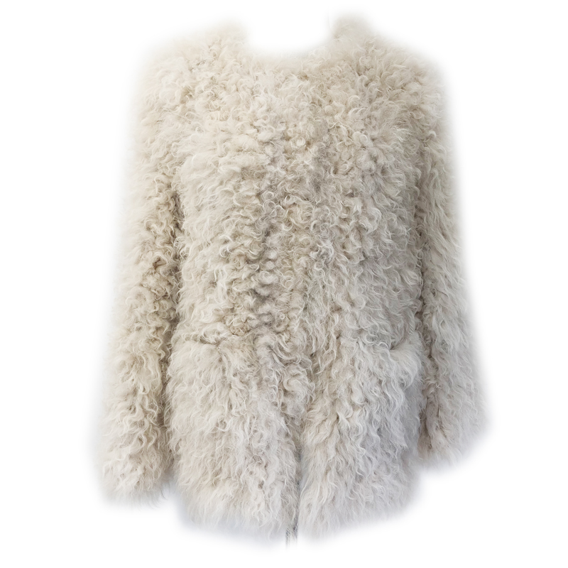 Harppihop*New Real Classical Knitted Rabbit Fur Vest Gilet with Raccoon Collar women multiple collar