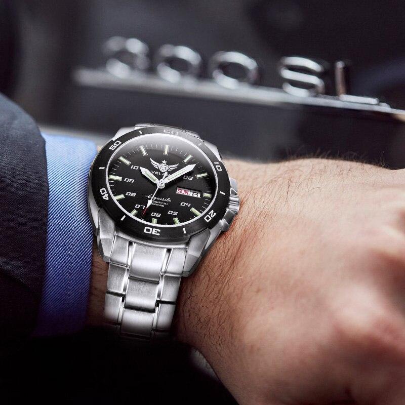 Mechanical Steel Waterproof 100m Luminous In Tritium 0yelang Wrist Us223 Dual T100 Business Watches Calendar V1020 Automatic Watch Mens 8OXnw0Pk
