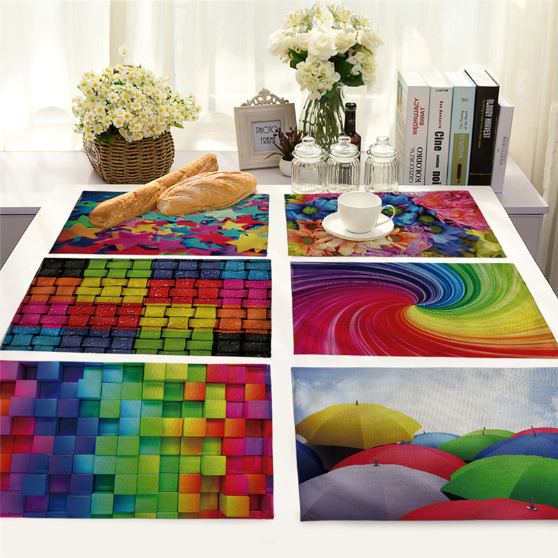 Cotton Linen Pad Placemat 3D Checker Colorful Printed Western Table Mat Coaster Kitchen Drawer Dinning Bowl Pad Mat