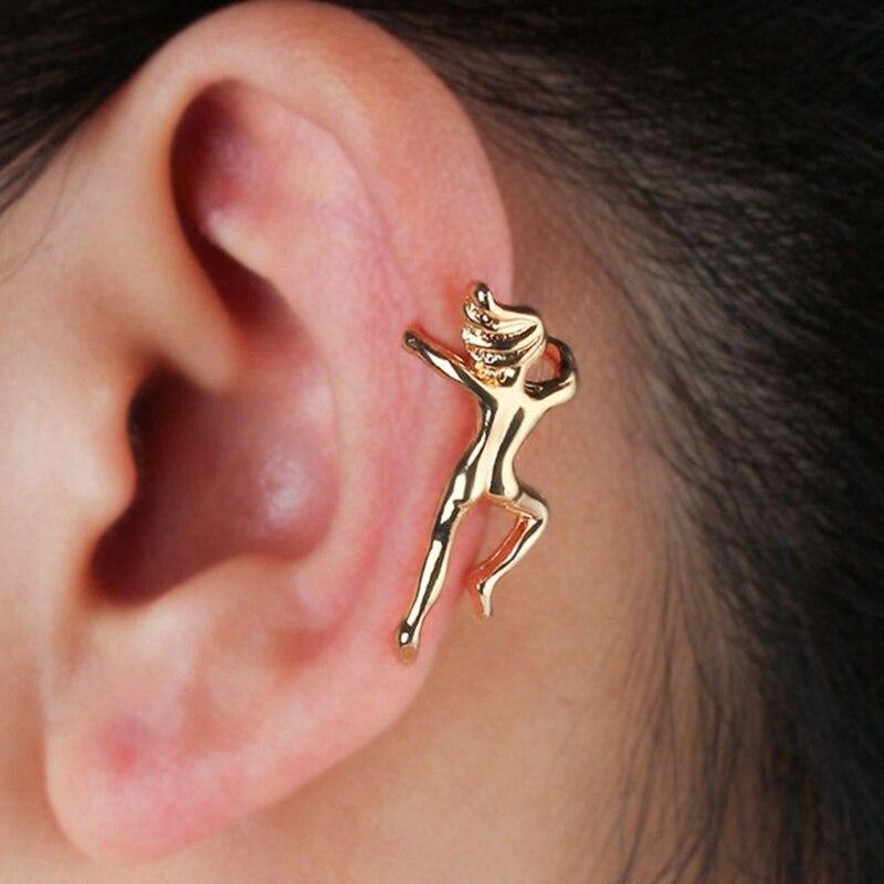1 Stücke Frau Schmuck Persönlichkeit Offbeat Künstlerische Gymnastik Sportler Gold Silber Porträt Ohr Clip Legierung Galvanisieren Ohr Nagel