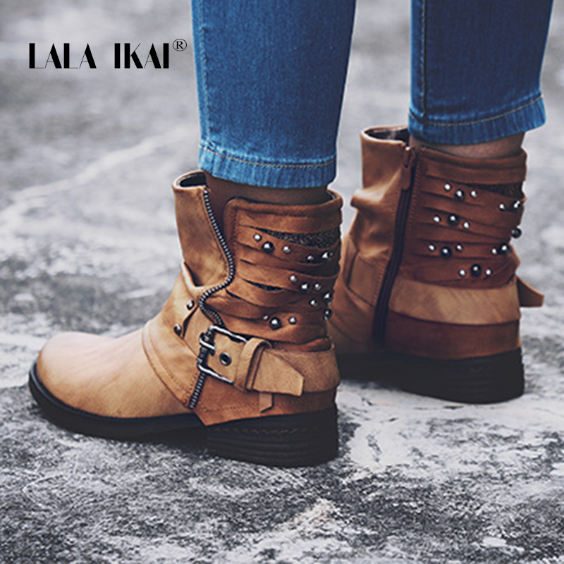 LALA IKAI Rivet Leather Ladies Ankle Boots Winter Velvet Round Toe Short Plush Zip Buckle Western Boots Motorcycle 014A2158 -49