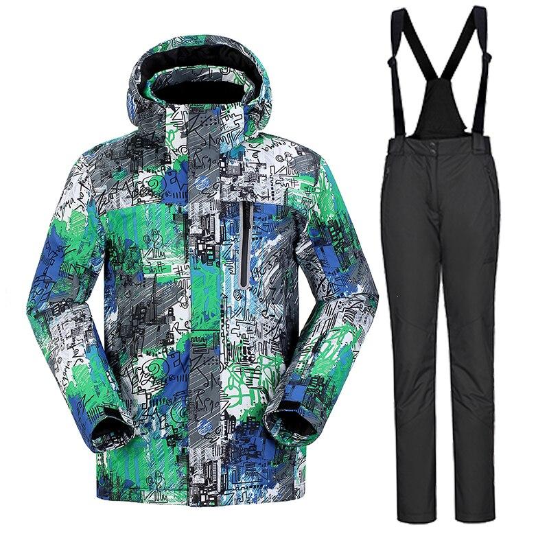 Prix pour Haute Expérience Hiver Aports Hommes Ski Costumes Mâle Veste + Pantalon de Snowboard Manteau Mans Épaissir Neige Imperméable coupe-vent
