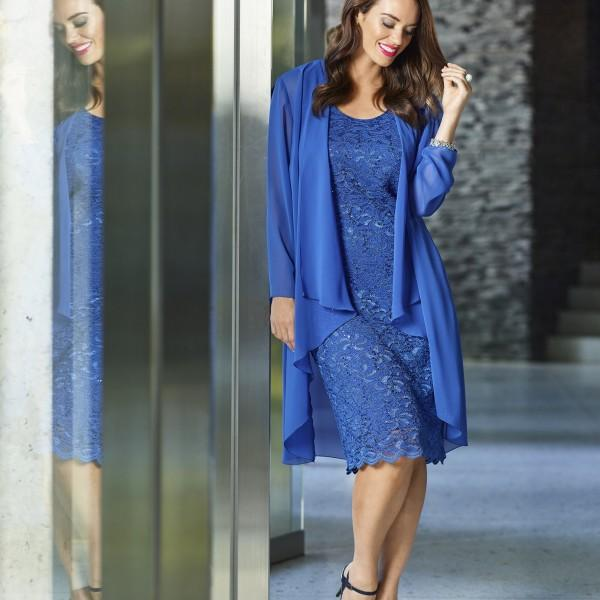 b8a3b794b26 Plus Size Mother Bride Lace Knee Length Dress Suits with Chiffon Jacket  Beach Party Gowns Dark Blue Mothers Evening Formal Wear