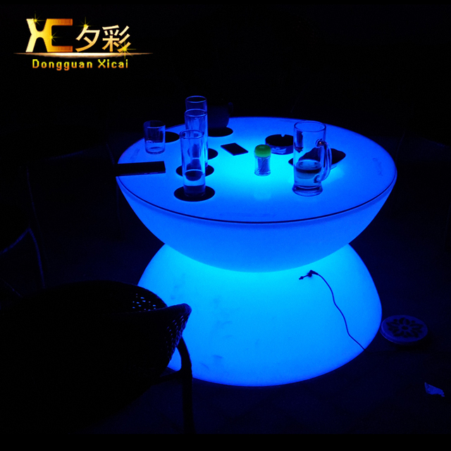 Plastic Led Coffee Table Round Wine Tea End Tables For Bar Club Pub Resturant Hotel Ceremony