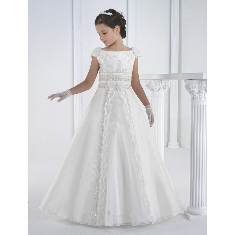Newest Princess Girls Floor Length Wedding Dress Children Girls Lace Party Dresses For Kids Flowers Girls Wear 2-13Y Clothes