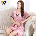 Women Pyjamas Lace Silk Nightgowns Lounge Ladies Nightdress Bath Robe Sets Two-piece Short-Sleeves Sleepwear Set M-XXL