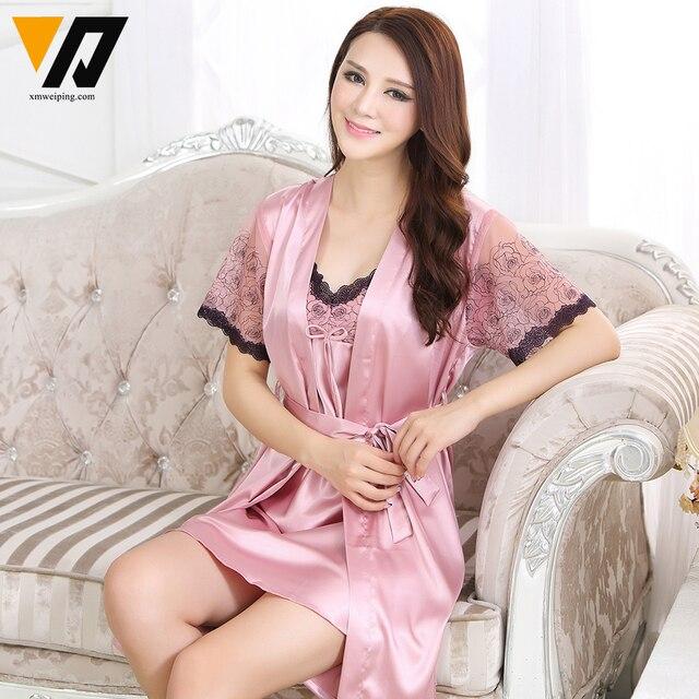 Women Pyjamas Lace Silk Nightgowns Lounge Ladies Nightdress Bath Robe Sets Two-piece Short-Sleeves Sleepwear Set M-XXL
