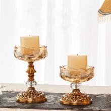 цена на Metal style crystal glass candle holders home decor candlestick candelabra porta velas decorativas candle holder centerpieces
