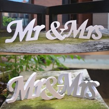Mr and Mrs Letters Sign Wooden Standing Top Table White Wedding Decoration