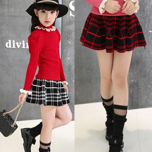 Girl Waist Skirt Kids Wool Knit Skirt Good Quality Black Red Baby Tutu Skirt Pettiskirt Children Umbrella Skirt Vestido Infantil