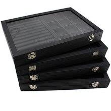 Большой черный чехол из искусственной кожи с стеклянным покрытием, шкатулка для ювелирных изделий, держатель для лотка, коробка для хранения, органайзер, серьги, кольцо, браслет