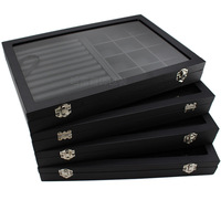 Big PU Black Carrying Case with Glass Cover Jewelry Ring Display Box Tray Holder Storage Box Organizer Earrings Ring Bracelet Bo