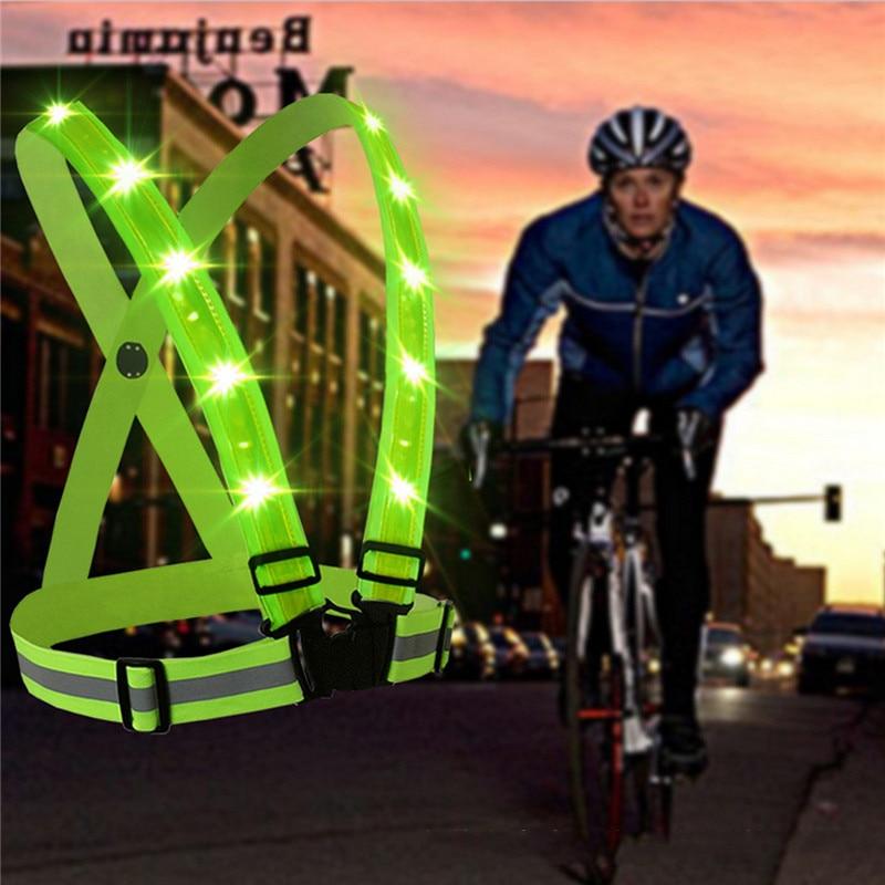imágenes para 2017 nueva llegada durable calidad fluorescente verde de carga usb led clothing correas chaleco reflectante de seguridad