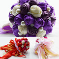Elegant Artificial Rose Flowers Purple Bridal Throw Bouquet 2015 New Colorful Wedding Bouquet Bridal Bouquets Hand Flower WF011