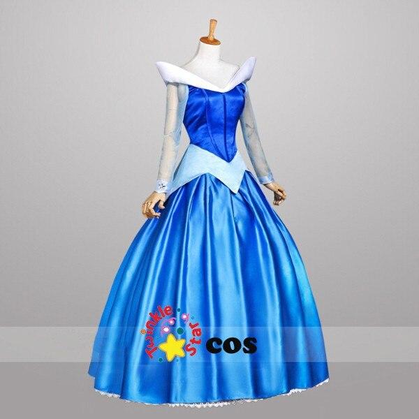 Лидер продаж года синий фильм Спящая Красота принцессы Авроры Платье для косплея Для женщин костюм для Хэллоуина