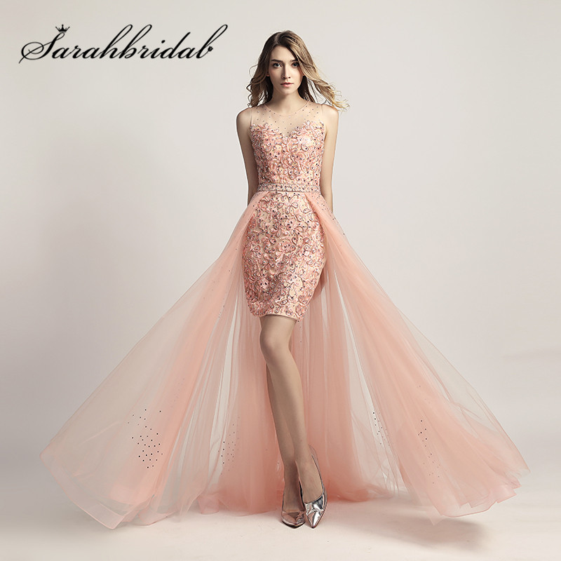 Short Pink   Prom     Dresses   2019 Sheer O Neck Embroidery Applique Illusion Back Party Cocktail Gowns with Long Tulle Train CC441