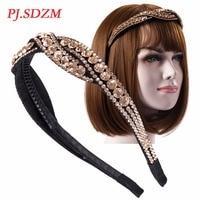 PJ.SDZM Women Luxury Rhinestone Hair Accessory Broadside Twist CZ Crystal Hair Bands High Grade Crystal Wide Headbands Gift
