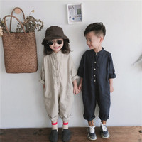 2019 Spring Unisex Kids Overalls Cotton Linen Loose Trousers Korean Style Baby Boys Girls Jumpsuits Children Clothes H0891