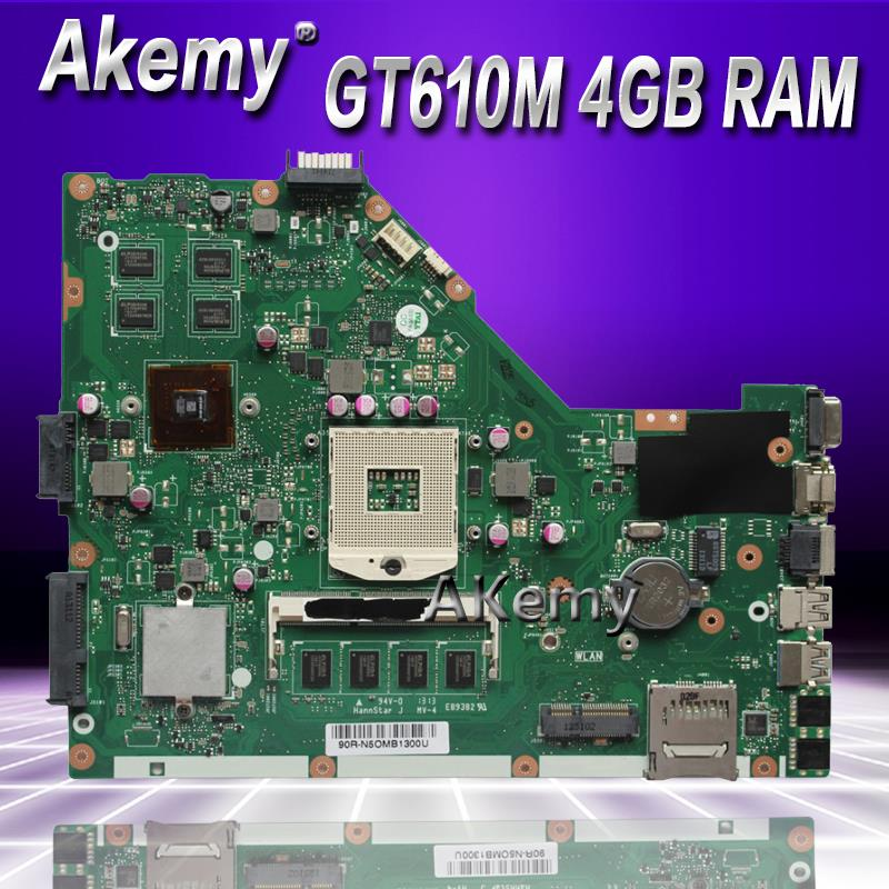 Akemy X55VD Laptop Motherboard For ASUS X55VD X55V X55 Test Original Motherboard REV2.1/REV2.2 GT610M 4GB RAM