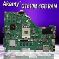 Akemy x55vd placa-mãe do portátil para For Asus x55vd x55v x55 teste original placa-mãe rev2.1/rev2.2 gt610m 4 gb ram