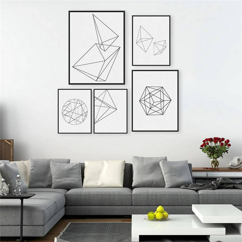 Abstract Geometry Black and White canvas painting Nordic canvas posters prints living room wall art painting home decoracion