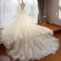 New Design Wedding Gowns Detachable Train Gorgeous Wedding Dresses Full Sleeves Pretty Bridal Dress Tulle Vestido De Noiva