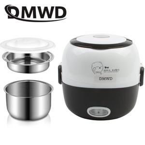 Image 2 - DMWD MINI kuchenka do ryżu ogrzewanie termiczne elektryczne pudełko na Lunch 2 warstwy przenośne jedzenie parowiec gotowanie pojemnik posiłek Lunchbox cieplej