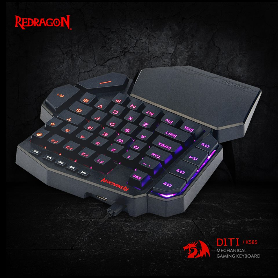 Redragon K585 DITI One-Handed RGB Mechanical Gaming Keyboard 42 Keys Blue Switch LED Left Hand Mini Keypad For Mobile Game